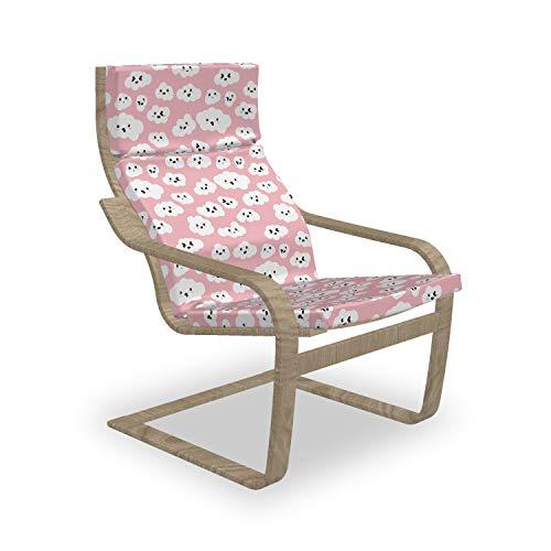ABAKUHAUS Wolke Poäng Sessel Polster, Fluffy Cumulus Cartoon, Sitzkissen mit Stuhlkissen mit Hakenschlaufe und Reißverschluss, Pale Pink Koksgraue