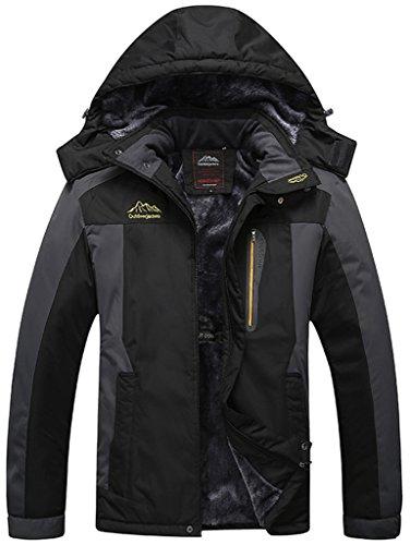 Sawadikaa Herren Winter Outdoorjacke wasserdicht Wandern Fleece Übergröße Skijacke Regenjacke Windbreaker Schwarz Herstellergröße 7XL, UK XXXX-Large