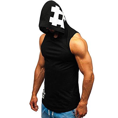 ZZBO Männer Tanktop Gym Fitness Tank Top Herren Funktionelle Sport Bekleidung Bodybuilding T-Shirt Trainingsshirt ärmellos Weste Unterhemd Herren Muskelshirt Achselshirt Mit Kapuze S-XXL