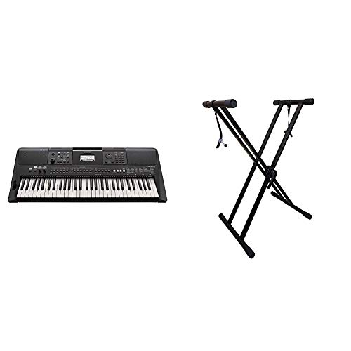 Yamaha PSR-E463 61-Key Portable Keyboard & RockJam Xfinity Heavy-Duty, Double-X, Pre-Assembled, Infinitely Adjustable Piano Keyboard Stand with Locking Straps