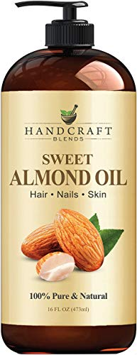 Handcraft Sweet Almond Oil - 100% Pure and Natural - Premium Therapeutic Grade Carrier Oil for Aromatherapy, Massage, Moisturizing Skin and Hair - Huge 16 fl. oz
