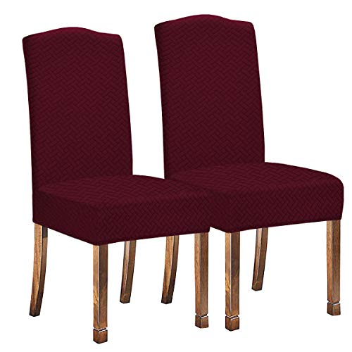 KELUINA Fundas elásticas para sillas de comedor, de tela jacquard, impermeables, para decoración del hogar, para sillas de comedor, restaurantes, hoteles, ceremonias, 2 piezas, color rojo vino