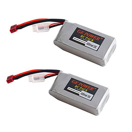 TwoCC-Drone, 2Pcs Actualización de 7.4V 4200Mah 25C Parte de la batería para Wltoys 12428 12429 Rc Modelo
