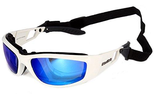 Strike EYEWEAR Sportbrille Sonnenbrille 203 weiß mit abnehmbarem Kopfband - blau verspiegelt