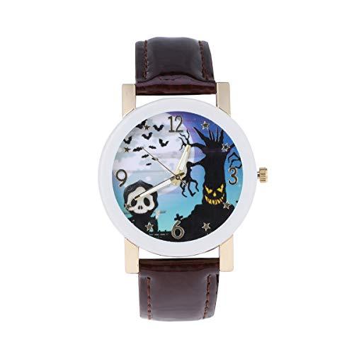 Balacoo Reloj de Cuarzo de Moda para Mujer Festival de Fantasmas Actividades Reloj de Pulsera Crculo Blanco Vidrio Ocio Reloj de Mujer Reloj temtico de Halloween Marrn-Disfraz de Halloween