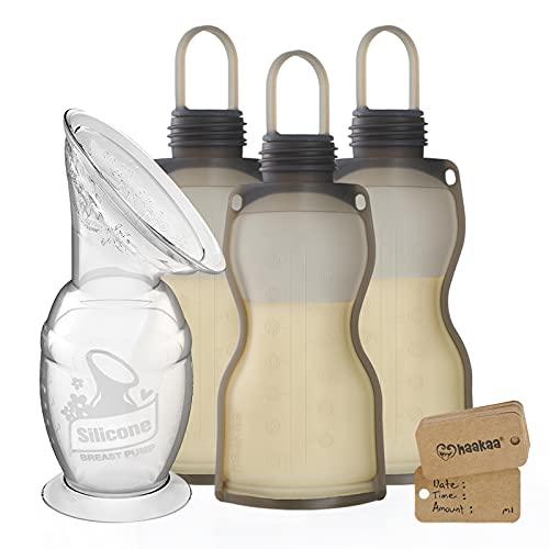 Haakaa Silicone Manual Breast Pump & Reusable Breastmilk Storage Bag Set 4 PK - Milk Collector|...