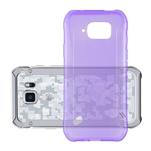 Preisvergleich Produktbild Cadorabo Hülle für Samsung Galaxy S6 Active - Hülle in TRANSPARENT LILA Handyhülle aus TPU Silikon im Ultra Slim 'AIR' Design - Silikonhülle Schutzhülle Soft Back Cover Case Bumper