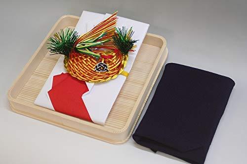結納金袋(赤白)鯛・ヘギ台付・正絹ちりめん風呂敷68cm(紫)付き