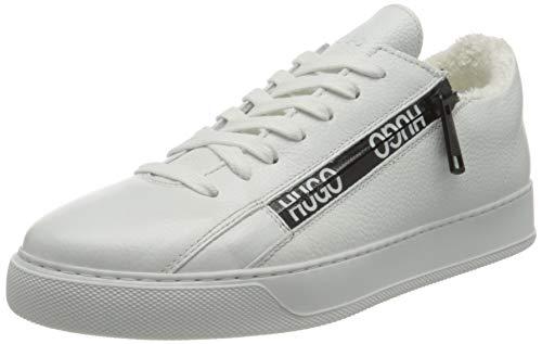 HUGO Damen Deva Lace Up-Zip Sneaker, White100,41 EU