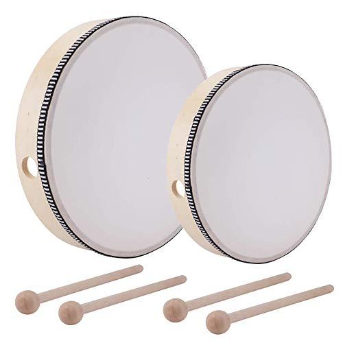 Gobesty Tambor de mano con mazo, 2 partes, 8 10 pulgadas, tambor de mano, tambor de percusión, pandereta de madera, tambor, instrumento de percusión niños, juguete educativo para fiestas infantiles