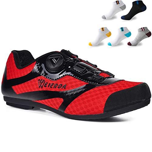 XFQ De Adultos, Zapatos De Ciclo Al Aire Libre Unisex Zapatos De La Bici Informal Malla No Lock Zapatos De Ciclo con 5 Pares De Calcetines Deportivos,Rojo,39EU