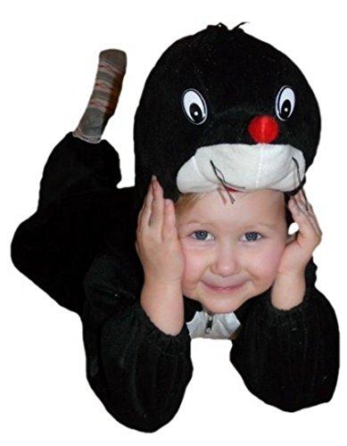 Maulwurf-Kostüm, An47 Gr. 116-122, für Kinder, Maulwurf-Kostüme Maulwürfe für Fasching Karneval, Klein-Kinder Karnevalskostüme, Kinder-Faschingskostüme, Geburtstags-Geschenk Weihnachts-Geschenk