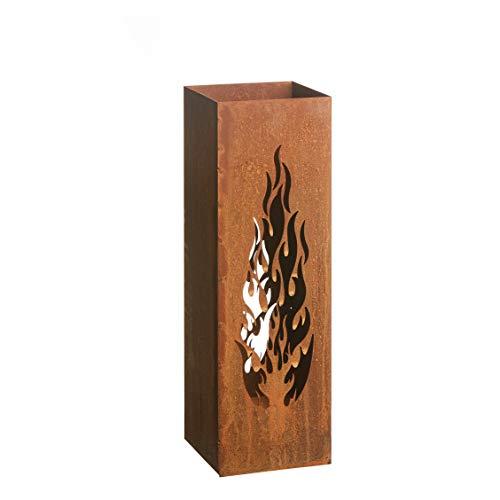 AMARE Home Deko Säule Windlicht Feuersäule Laterne Design Flammen Edelrost 16 x 16 x 50 cm