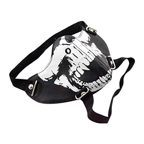 BESTOYARD Máscara de Boca Luminosa con Calavera Impresa Antipolvo para decoración de Halloween (Negro)