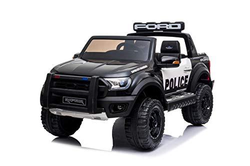 Mondial Toys Auto ELETTRICA per Bambini Ford Ranger Raptor Police 12V Pick UP 2 POSTI SEDILI in Pelle Telecomando 2.4G AMMORTIZZATORI Reali