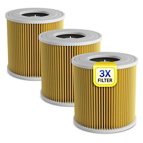 Filtro a cilindro, 3 pezzi di ricambio per Kärcher 6.414-552.0, lamelle per aspirapolvere multiuso...