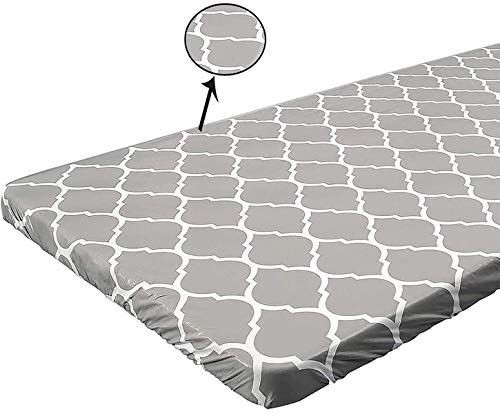 Ekotech Rectangular Fitted Vinyl Tablecloth, Waterproof Elastic Table Cover with Flannel Backed Lining ,Gray Checkered Printed,Great for Outdoor Patio/Party (Grey, 30 x 72 inch)