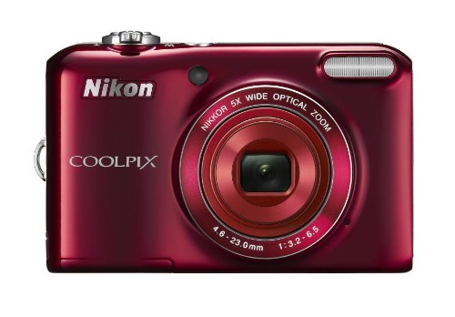 Nikon Coolpix L28 20.1MP Point-and-Shoot Digital Camera (Red) with 4GB Card, Camera Pouch