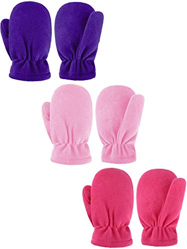 3 Pairs Kids Winter Mittens Kids Windproof Fleece Warm Gloves Snow Ski Gloves for Baby Boy & Girl (Color Set 2, 5-7 Years)