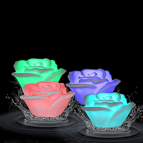 Ardux - Candele galleggianti a LED, a forma di rosa, a forma di fiore, impermeabili, cambiano colore, luce notturna, candele senza fiamma, con alimentazione a batteria (confezione da 4)