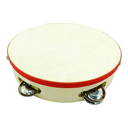 Tamburin Handtrommel Musikinstrument für Kinder D: 20 cm aus Holz mit 5 Schellen - 3833