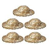 VALICLUD 5 Piezas Mini Sombreros de Paja en Miniatura Sombreros de Tejer Gorra de Modelo de Escena Miniatura Decoración de Pasteles para Mini Casa DIY Accesorios de Decoración