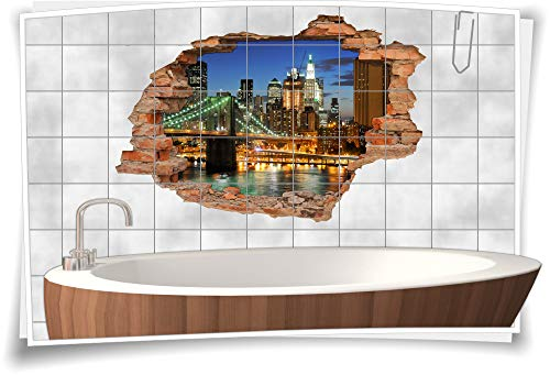 Fliesen-Bild Wand-Durchbruch 3D Fliesen-Aufkleber Metropole Stadt-Lichter Brücke Fluss, 75x50cm, 20x25cm (BxH)