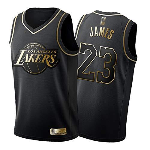 LeBron James # 23 Basketball Trikot Los Angeles Lakers Schwarz Gold und Weißgold Version Weste Jugend Herren Sommer Outdoor Schnell Trocknend Mesh Sweatshirt (S-2XL)-Schwarz-M