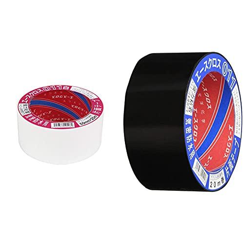 光洋化学 気密防水テープ エースクロス アクリル系強力粘着 片面テープ 011 白 50mm×20M & 気密防水テープ エースクロス アクリル系強力粘着 片面テープ 011 黒 50mm×20M【セット買い】