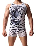 Jasmine Men See Though Sexy Underwear Boxers Briefs and Vest Set for Sports, A247-002-white, Large