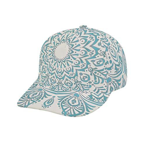 Lind88 Chapeau de baseball unisexe turquoise foncé Mandala tendance – Beige séchage rapide, Mixte, blanc, adult printing bended rubber