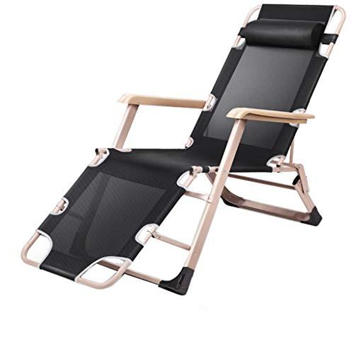 GGQF Chaise Longue Pliable Transat avec Oreiller Trou Jardin Plage inclinable extérieur réglable Pad épais extérieur sièges,A