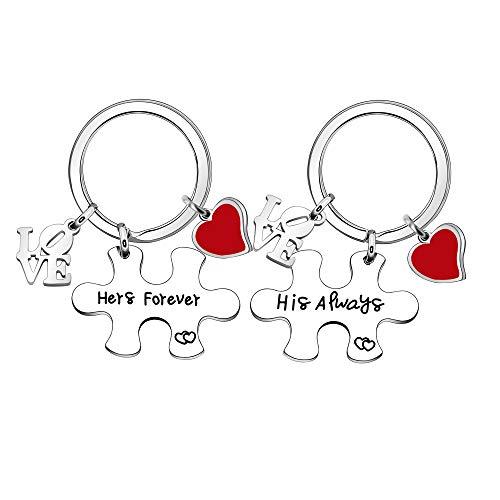 YUANSHI 2 llaveros de acero inoxidable para el día de San Valentín, diseño de rompecabezas, con texto en inglés «Her Forever His Always »