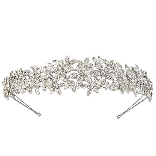 EVER FAITH® elegant Blume Braut österreichischen Kristall Diadem Haarband Haarschmuck Silber-Ton A10427-1