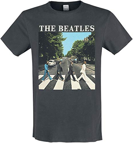 Amplified The Beatles-Abbey Road Camiseta, Gris (Charcoal CC), XXL para Hombre