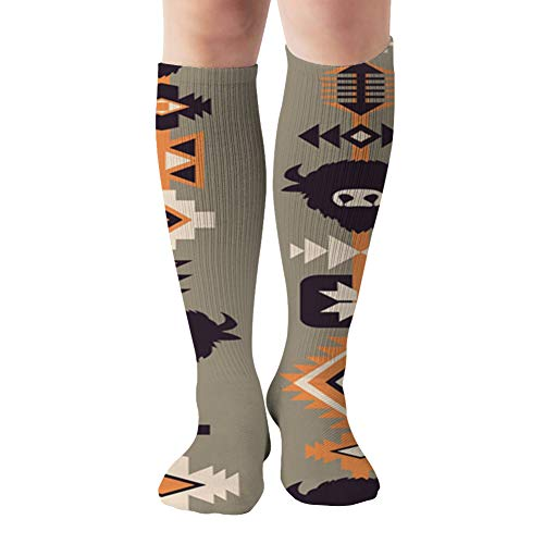 Ethnic Boho Tribal Abstract Compression Socks Women & Men, Best Athletic & Medical Running Flight Travel Pregnant 19.68 Inch