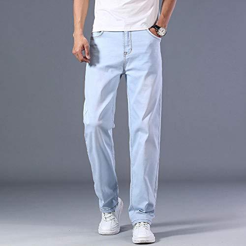 Jeans Pantalon Klassische Herren Thin Blue Jeans Advanced Stretch Loose Straight Jeanshose Herrenhose-Light_Blue_44