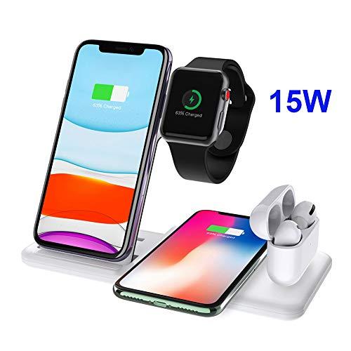 Dikkar Soporte de Cargador Inalámbrico Qi de 15 W para Airpods Pro Apple Watch 5 4 3 2 1, 4 en 1 Estación de Carga Inalámbrica Rápida Plegable Compatible iPhone 11 Pro X XS XR MAX 8/Galaxy S10/10/9