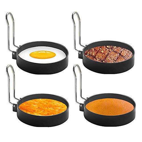 Feliciay 4 anillos redondos para huevos de acero inoxidable, para freír, moldear huevos y tortillas, molde para hacer huevos, accesorios portátiles de parrilla para acampar en interiores y desayunar