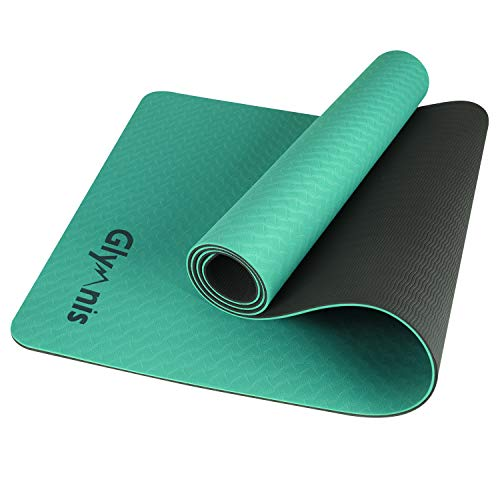 Glymnis Yogamatte Gymnastikmatte aus TPE rutschfest Übungsmatte Fitnessmatte für Yoga Pilates Fitness mit Tragegurt und Reinigungstuch 183 cm x 61 cm x 0,6 cm (Türkis-Dunkelgrau)