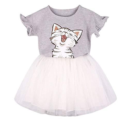 Jimmackey Ragazzine Neonato Gattino Dress Set,Stampato T-Shirt + Tutu Gonna Fancy Costume Principessa Vestito Party Casual per 2-7 Anni