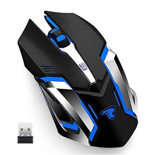 Uciefy X96 Wireless Gaming Mouse, Rechargeable Silent Mouse 4 Breathing Led Light Optical Mice with Nano USB Receiver, 3200 DPI High Precision Laser for Computer/Laptop/Mac/PC (Black)