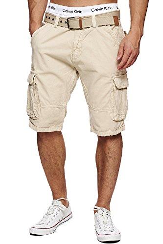 Indicode Herren Monroe Cargo ZA Shorts m. 6 Taschen inkl. Gürtel aus 100% Baumwolle   Kurze Hose Bermuda Sommer Herrenshorts Short Men Pants Cargohose kurz Sommerhose f. Männer Fog L