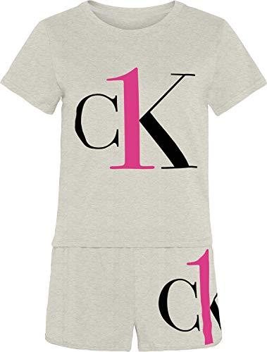 Calvin Klein S/S Short Set Juego de Pijama, Buff Heather, XL para Mujer