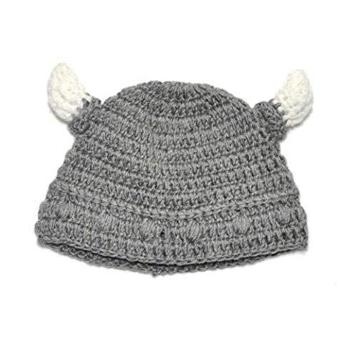 Bongles Baby Viking Wollmütze Woll Bull Horn Crochet Beard Beanie Mütze Handgemachte Gestrickte Mütze (grau)