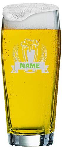 MeinGlas GmbH Willi Becher 0,5 l mit individueller Gravur | Graviertes Willi Bierglas mit Namen nach Wunsch und Premium-Logo (Bier)