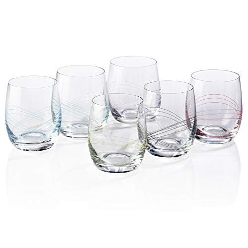 Bezrat Classic, Beautifully Designed, Stemless Wine Glasses - Lead-Free Premium Crystal Red or White Wine Glass - Drinking Goblets Set of 6-12 Ounces (STEMLESS)
