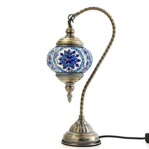Carkiien Turkish Mosaic Table Lamp for Living Room Glass Bedside Lamp Blue Swan Neck, Led Bulb Included