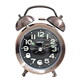 Ajanta Oreva Twin Bell Wind Up Night Glow Alarm Clock, Table Clock (Radium Clock)(Copper)