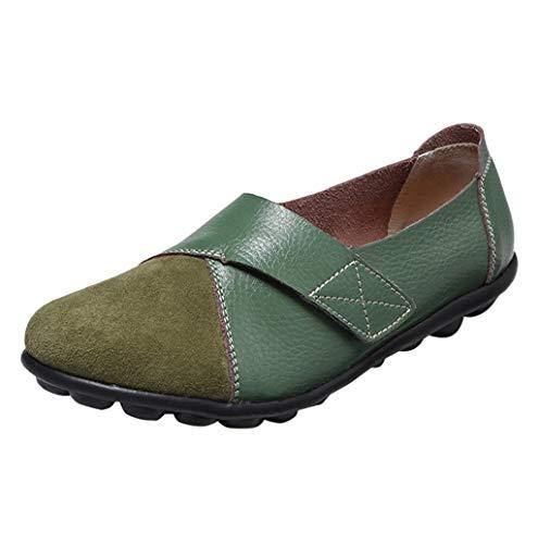 Damen Mokassin Bootsschuhe Leder Loafers Fahren Flache Schuhe Halbschuhe Slippers Erbsenschuhe Übergroßer 35-44 Schwarz, weiß, Rot, Gelb, Armee Grün TWBB